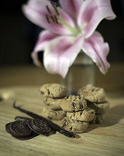 Vanilla and carob cookies